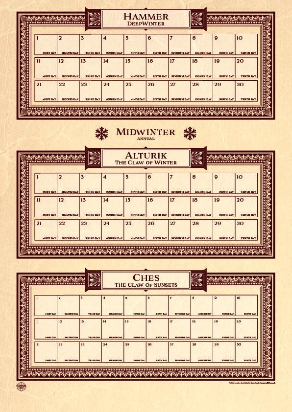 Faerun Calendar.Printable Faerun Calendar Arts Crafts D D Beyond General D D